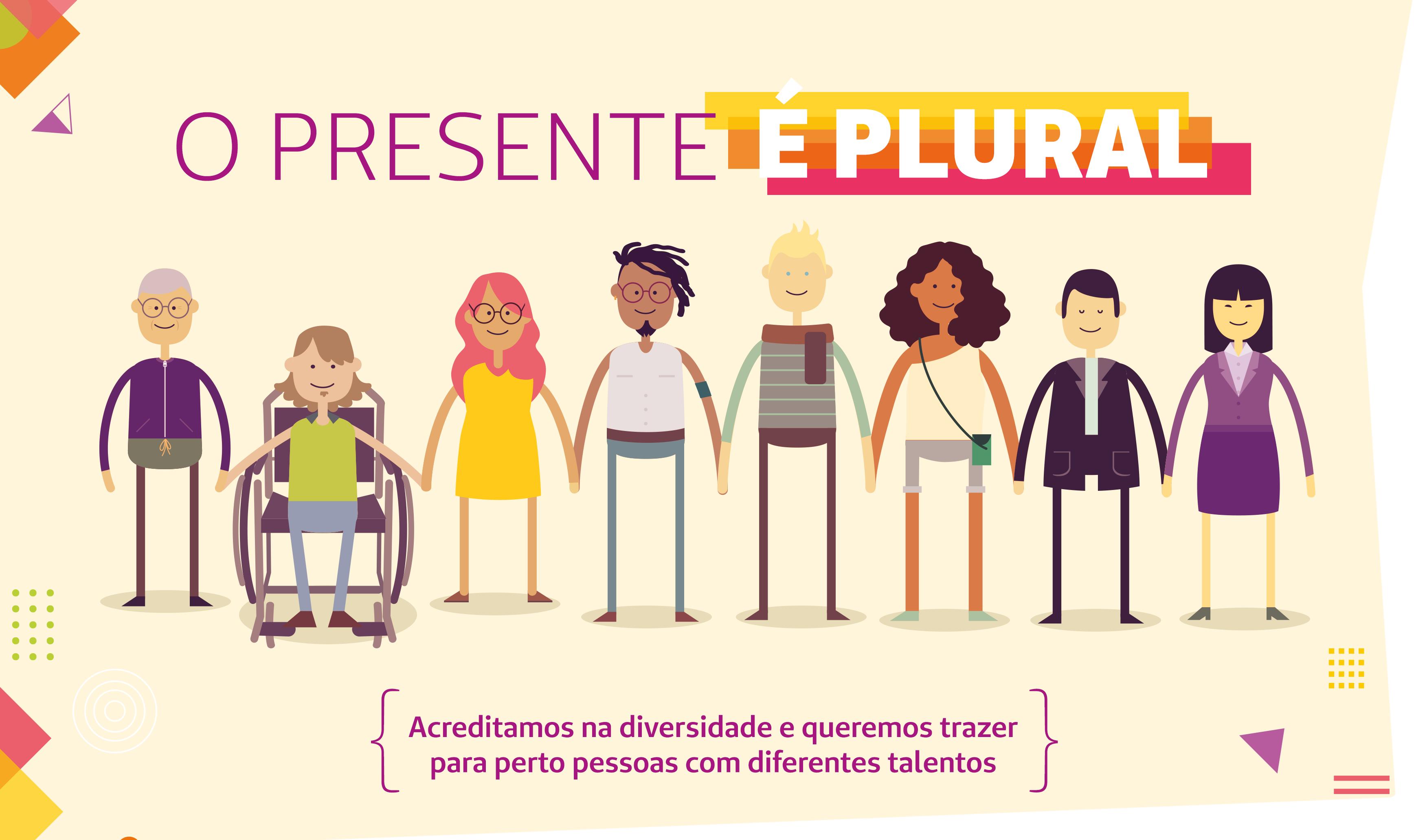 Imagem mostra ilustrações de pessoas que exemplificam um pouco da diversidade em nossa sociedade: pessoas em cadeiras de rodas, loiros, morenos, jovens, idosos, etc.